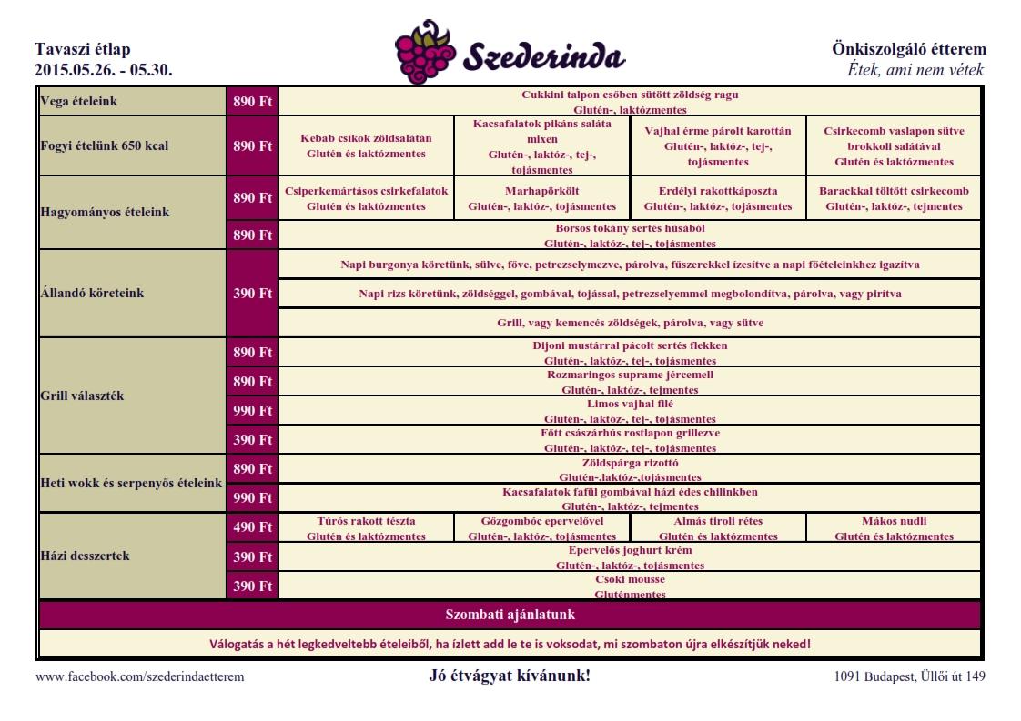 Szederinda gluténmentes étterem Étlap 2015. 20. hét